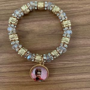New Frida Kahlo Gold Clear Bracelet